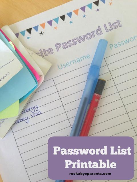 password list printable