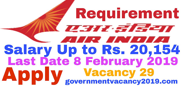 Air India Walk-in Selection 2019 for Security Agents  Any degree  29 Posts  10 February 2019  Gov Job 2019 governmentvacancy2019.com