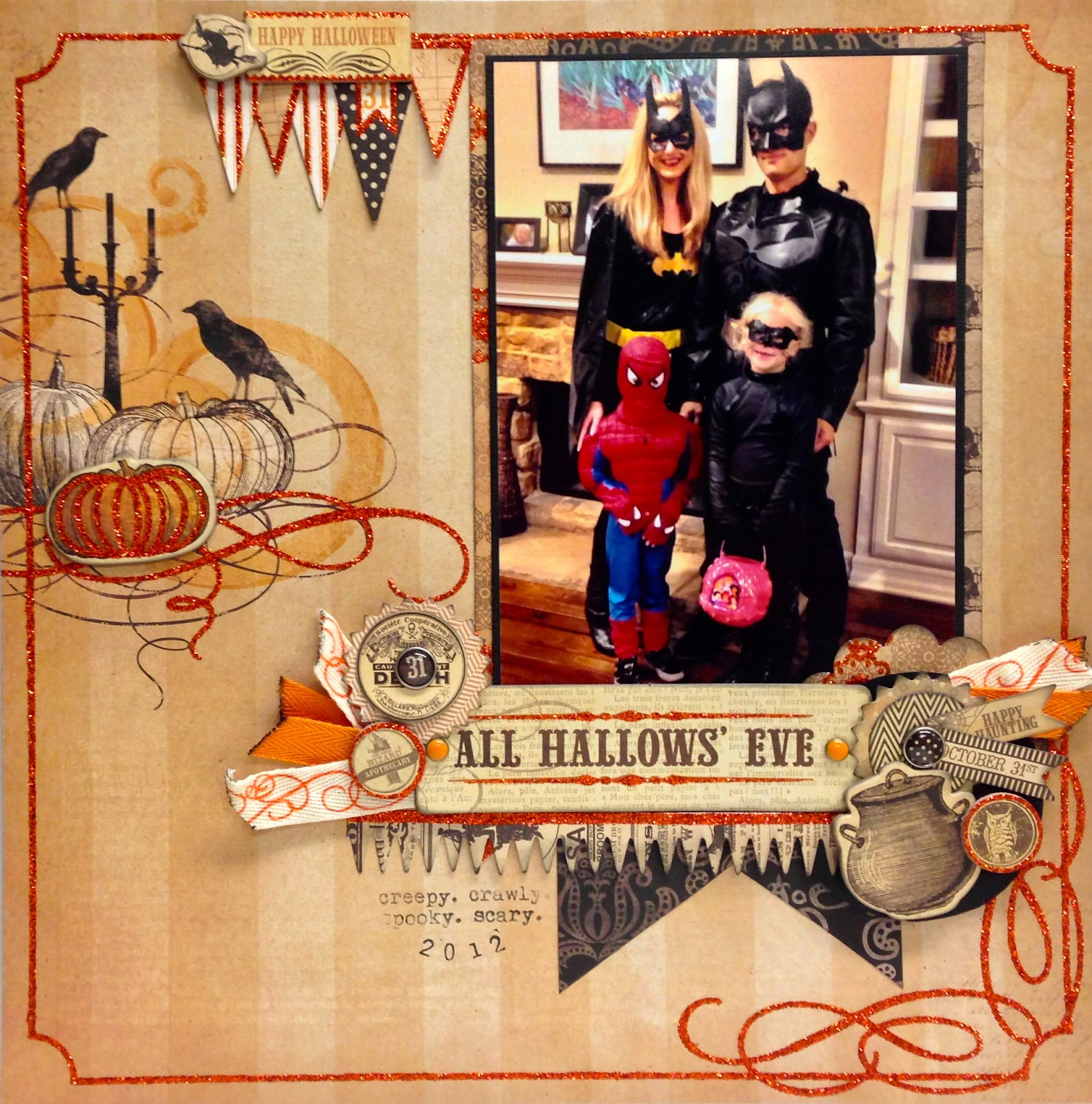For The Title Of Page I Used Happy Halloween Chipboard Sticker And Pennants From Cutouts Sheet