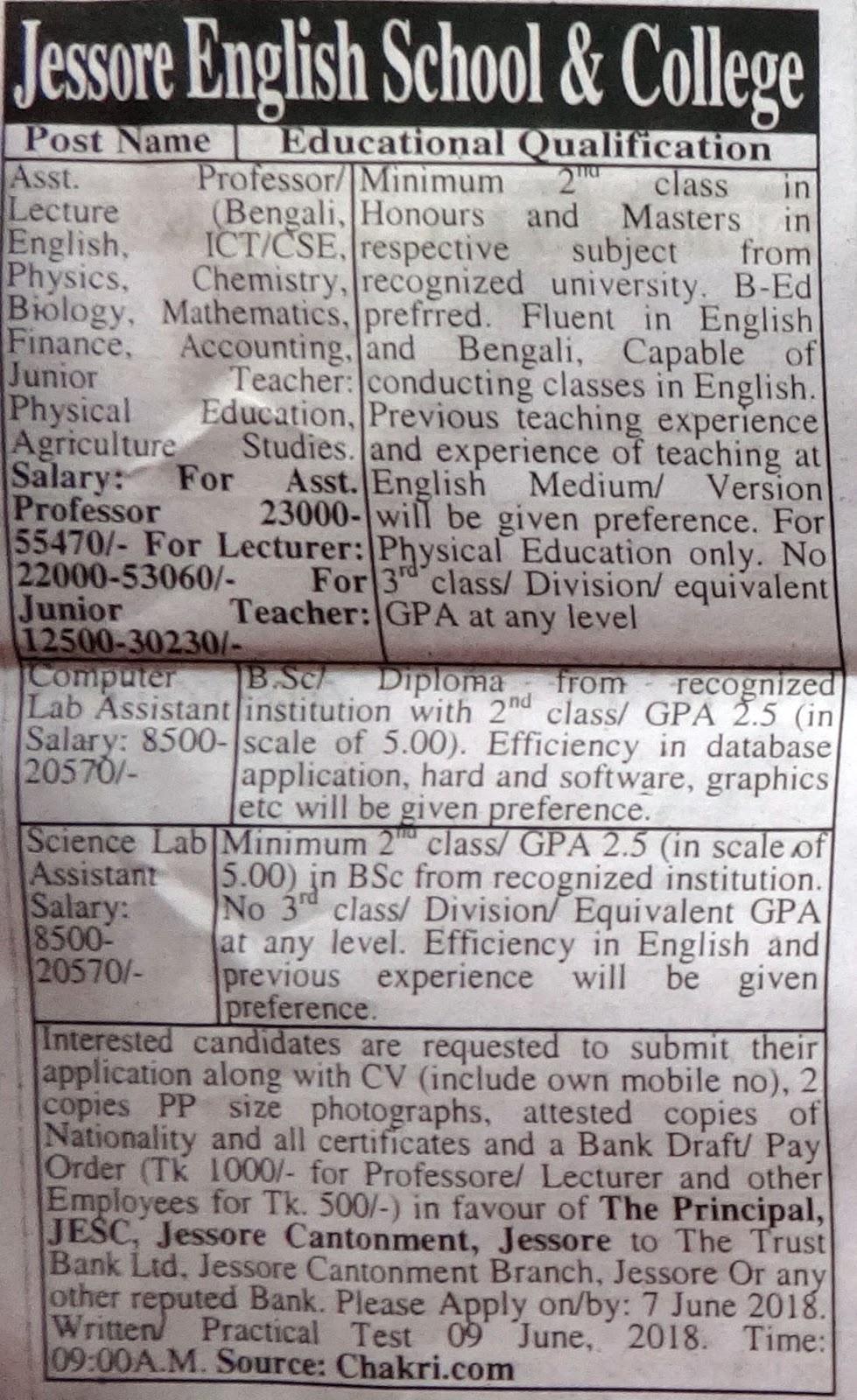Jessore English School and College job circular 2018