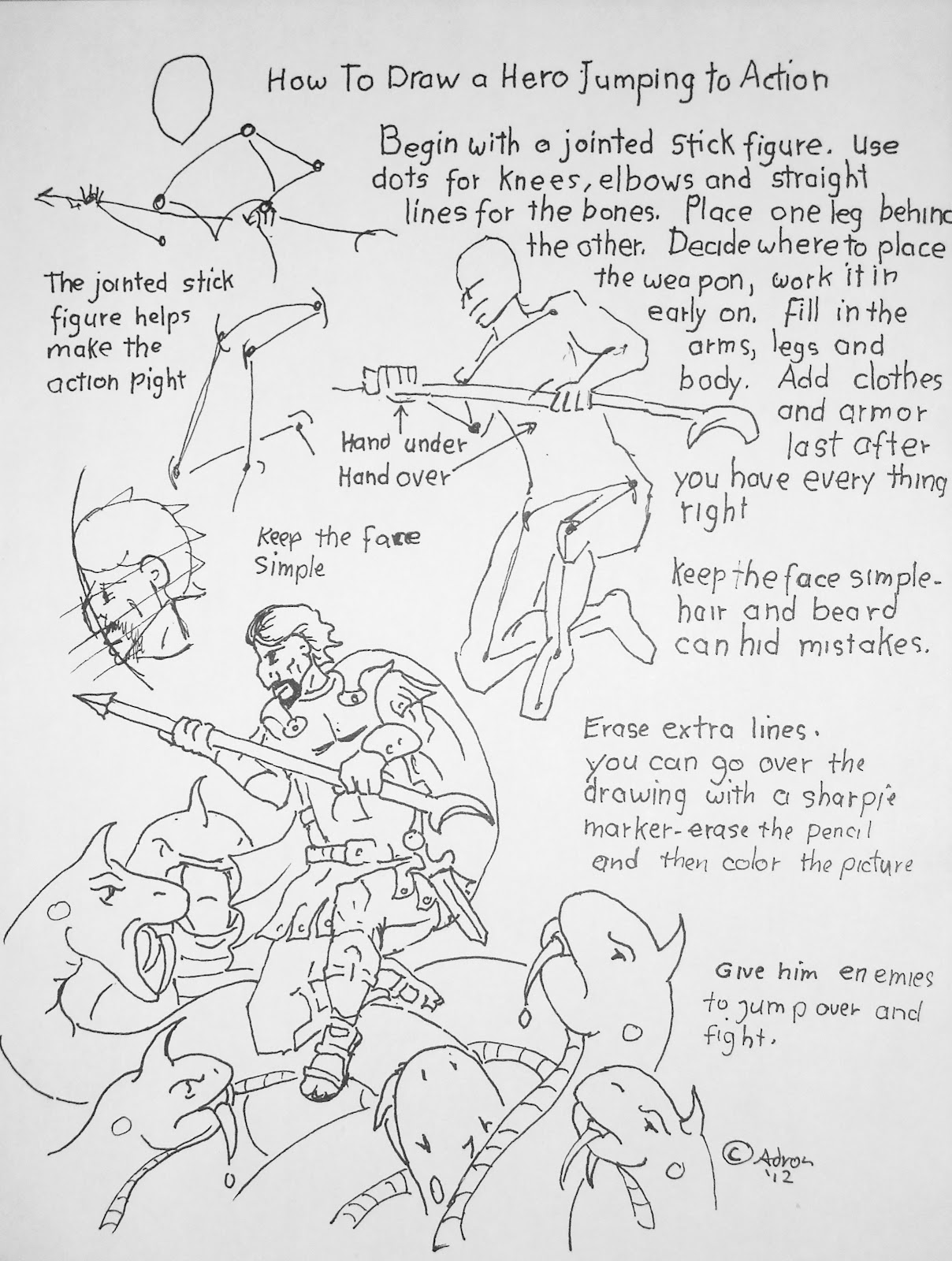 How to draw worksheets for the young artist august 2012 worksheet for how to draw a hero jumping into action robcynllc Choice Image