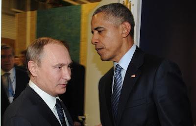 Presidente Vladimir Putin e o presidente Barack Obama