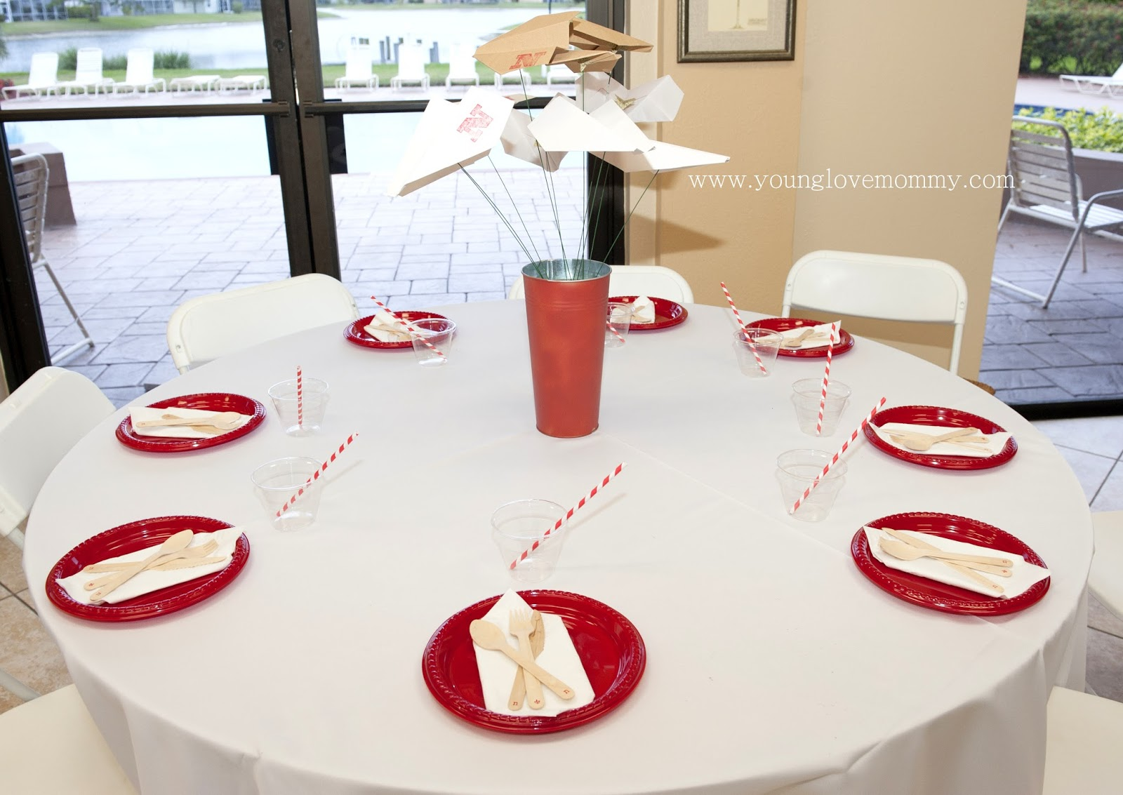paper airplanes centerpiece, first birthday