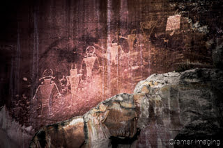 Cramer Imaging's photograph of ancient Native American pictographs carved on the rock walls of Capitol Reef National Park, Utah