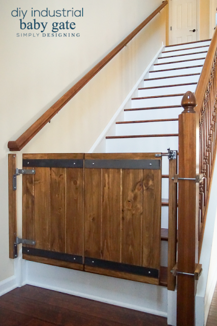 DIY industrial barn door baby gate eatured at Talk of the Town - KnickofTime.net