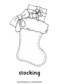 Plain christmas stocking coloring page 6