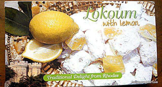 Loukim ou lukum, bala de goma típica da turquia e das Ilhas do Dodecaneso, na Grécia
