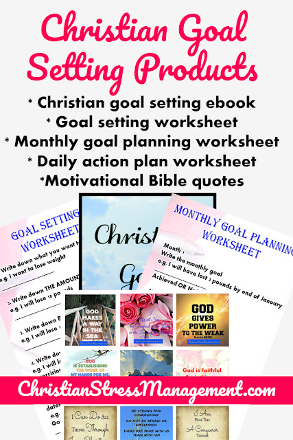 Christian Goal Setting Products bundle includes Christian Goal Setting ebook, printable goal setting worksheet, printable monthly goal planning worksheet, printable daily action plan worksheet and printable motivational Bible quotes to help you achieve your goals.