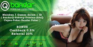 Bonus Cashback 2x Judi Bandar Poker Online QBandars.net - www.Sakong2018.com