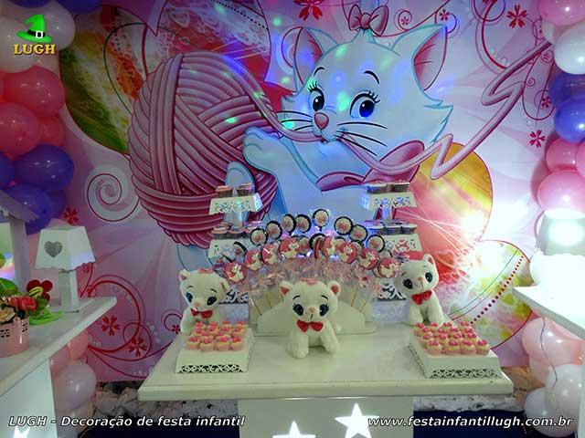 Decoração Gata Marie - Mesa decorada, festa de aniversário