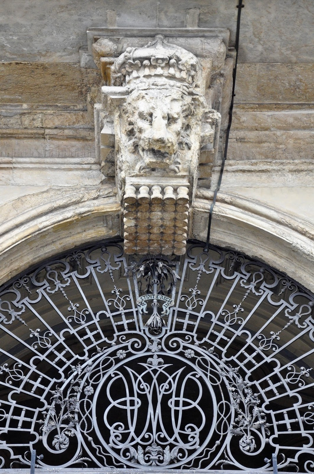 One of the three lion heads above the entrance, Palazzo Madama, Turin, Italy