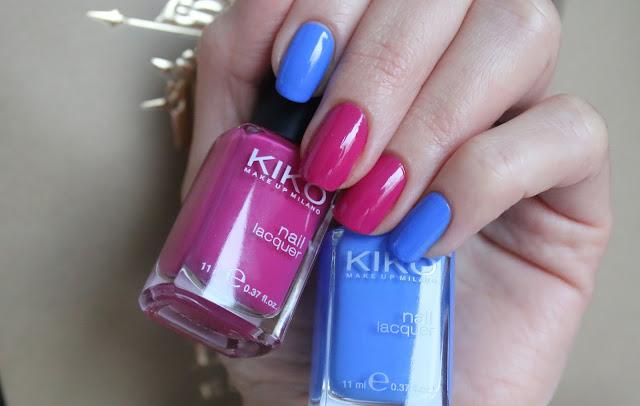 маникюр дня с синим и ягодным лаками для ногтей