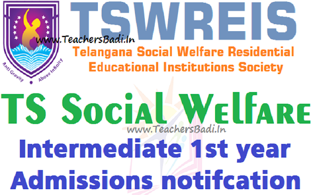 TSWREIS,Inter Admissions,TS Social Welfare Inter Admissions