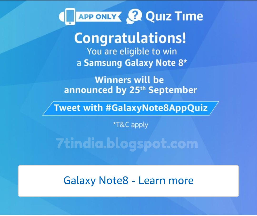 All The Answers For Amazon Samsung Galaxy S8 Quiz 8th September