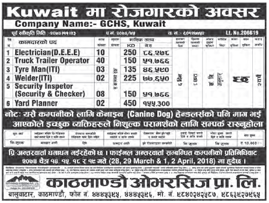 Jobs in Kuwait for Nepali, Salary Rs 1,55,300