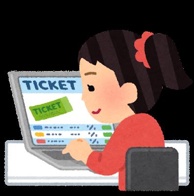 チケットを買う人のイラスト(女性)