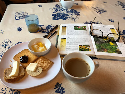 Meal at Rifutio Bonatti. Breakfast with book on identifying plants.