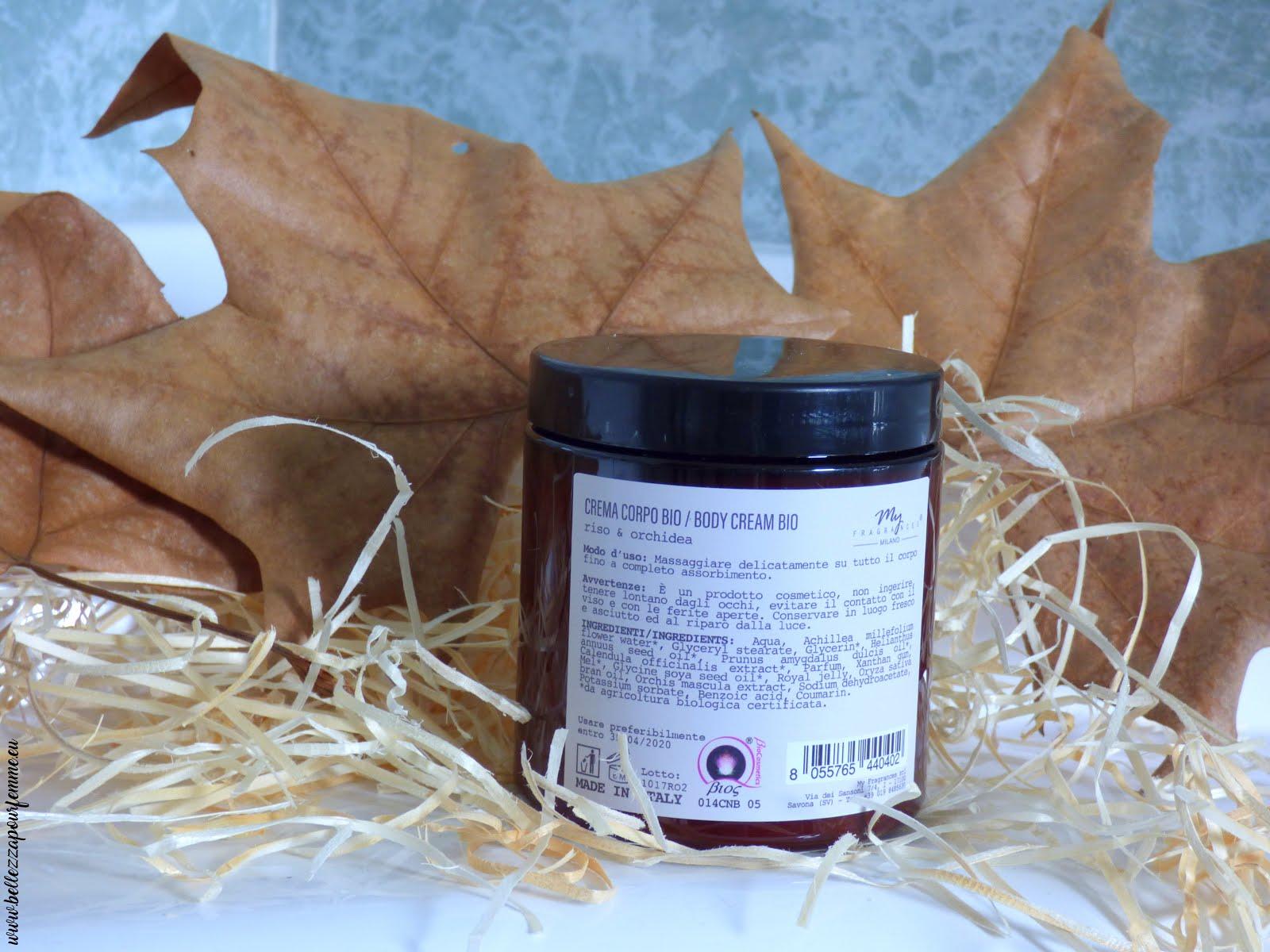 recensione My Fragrances crema corpo riso & orchidea con oli di orchidea & mandorle - bio certificato
