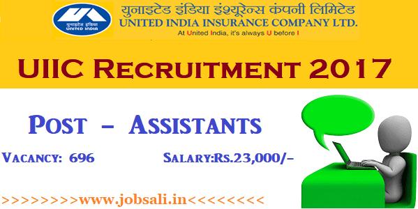United India Insurance Recruitment 2017, UIIC Assistant Recruitment, Insurance Company jobs