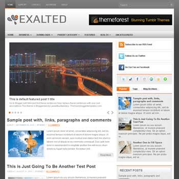 Exalted blogger template. free blogspot template magazine style