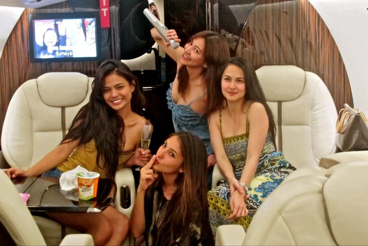 marian rivera, solenn heausaff, lovi poe and rufa mae quinto in private jet 02