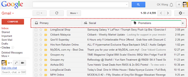 Gmail new tab layout - Promotions tab
