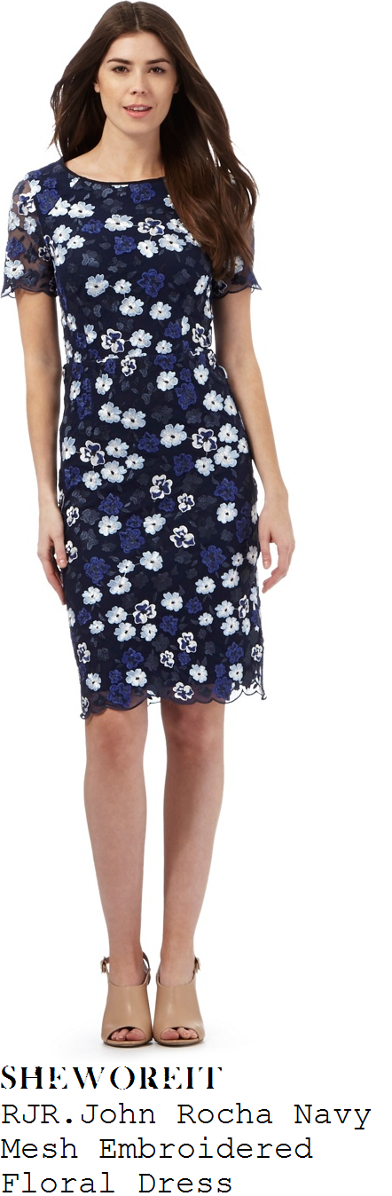 susanna-reid-rjr-john-rocha-navy-blue-white-and-black-floral-embroidered-sheer-mesh-overlay-short-sleeve-scalloped-edge-shift-dress
