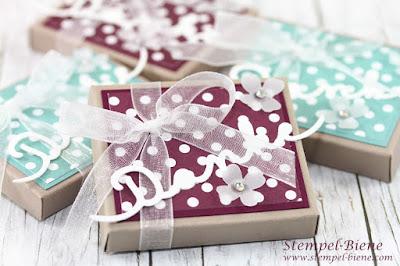 Schokoladenverpackung basteln; Boxen Umschlagsboard; Boxumrechner; Gastgeschenke Stempelparty; Stempel-Biene