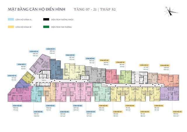 Mặt bằng thiết kế tầng 7 - 21 - Tháp S2 - Sun Grand City