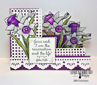 Our Daily Bread Designs Stamp Set: Daffodils,Custom Dies: Daffodil, Side Step Card, Circle Scalloped Rectangles, Beautiful Borders, Pierced Squares