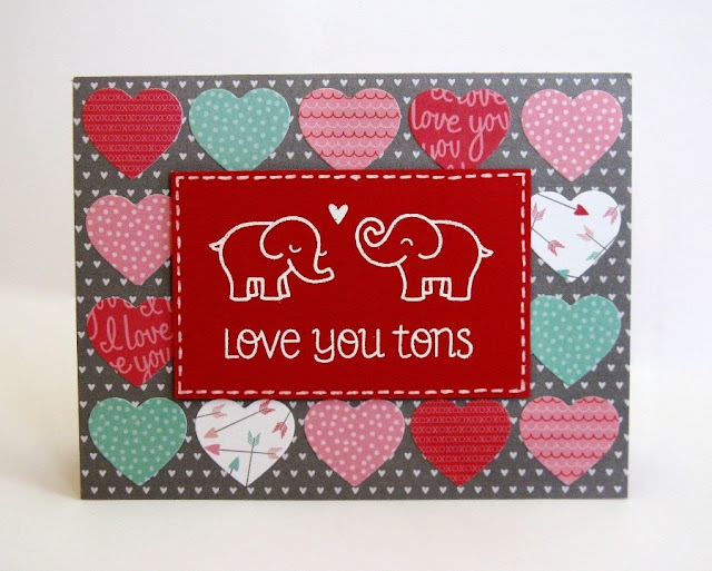 Lawn Fawn & Pebbles Love You Tons Elephant Valentine's Day card by Mendi Yoshikawa