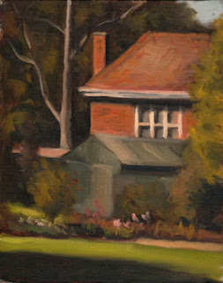 Oil painting of a 1930s double-storey brick house with a garden shed and vegetation in the foreground.