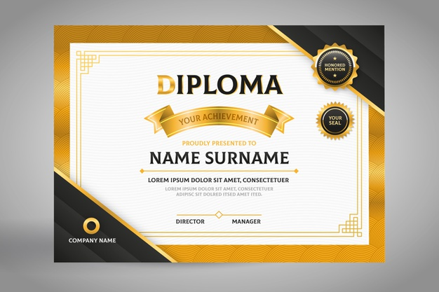 Elegant black and gold diploma certificate template Free Vector Illustrations