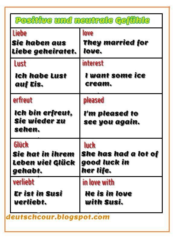 Wortschatz Positive und neutrale Gefühle (Deutsch/Englisch ...
