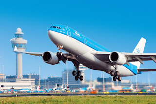 KLM Airbus A330 departs Schiphol Airport, Amsterdam, Netherlands