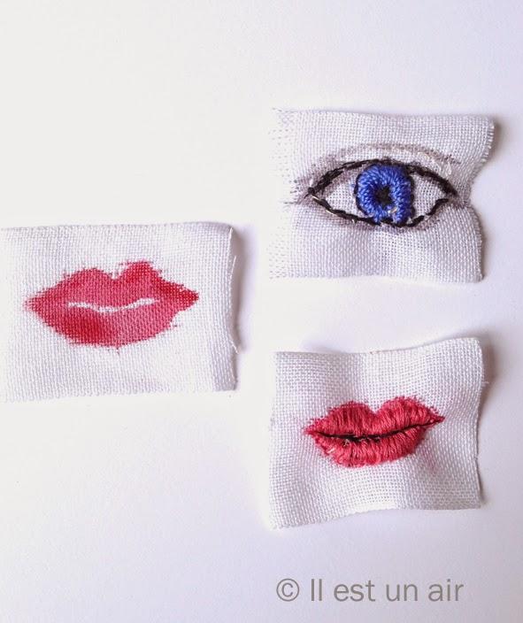 yeux et bouche brodés