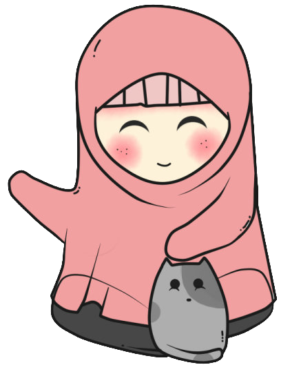 Freebies Doodle muslimah and cat