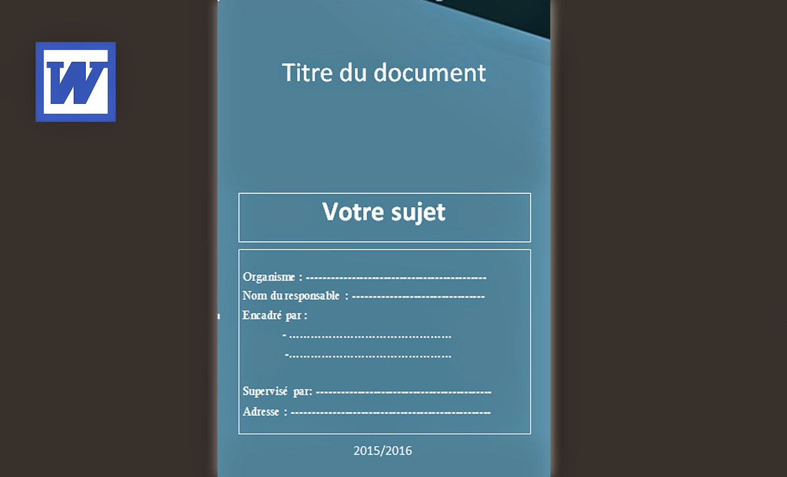 Exemple Page De Couverture Pour Un Rapport De Stage 2015