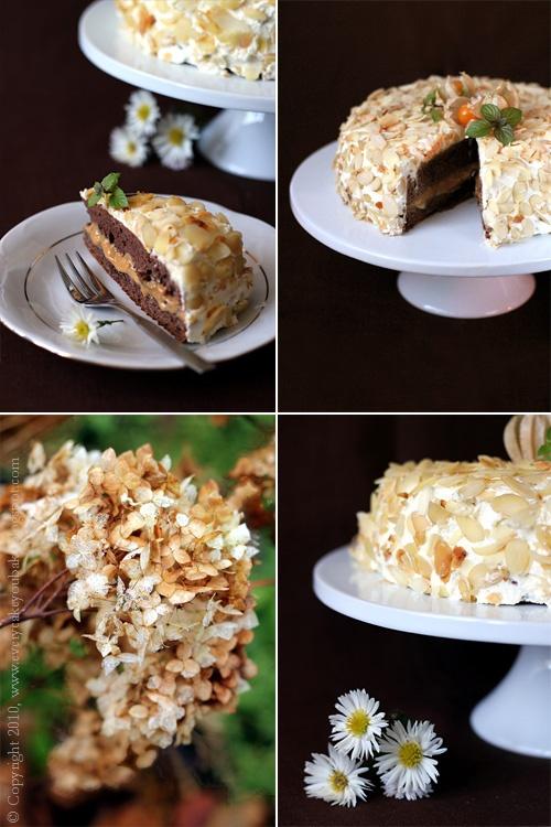 tort karmelowo-migdałowy na czekoladowym biszkopcie