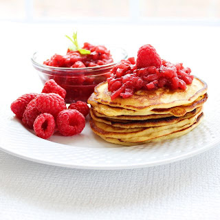 Apple Raspberry Sauce and Ricotta Pancakes | roxanashomebaking.com