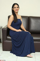 Radhika Mehrotra in sleevless Strap less Blue Gown At Prema Entha Madhuram Priyuraalu Antha Katinam Movie Interview ~  Exclusive 011.JPG