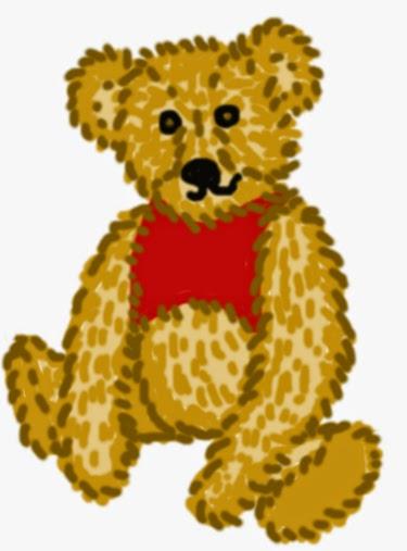 Illusztráció egyperces fanfictionhöz, Micimackó, Róbert Gida csacsi öreg medvéje piros trikóban, eredeti formájában, mint kóccal kitömött játékmackó.