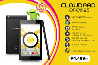 CloudFone CloudPad One 6.95 Launched, Android 5.1 Lollipop Tablet For Php4,499
