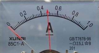 Skala Arus pada DC power supply handphone normal