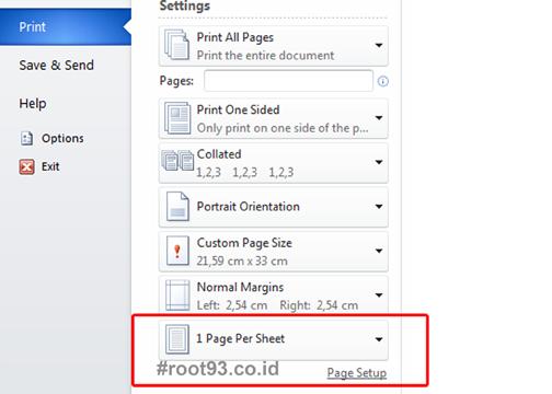 Cara Print 2 Halaman Menjadi 1 Lembar Ms. Word di Microsoft Word 2010