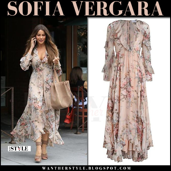 Sofia Vergara in blush floral print long dress zimmermann what she wore april 27 2017