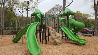 the reinstalled playground at DelCarte is open as of Saturday,  so when the rain decides to end it can be used again