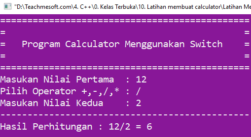 Running program, program calculator menggunakan switch