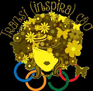 Logo Transi(inspira)ção amarelo com aneis olímpicos