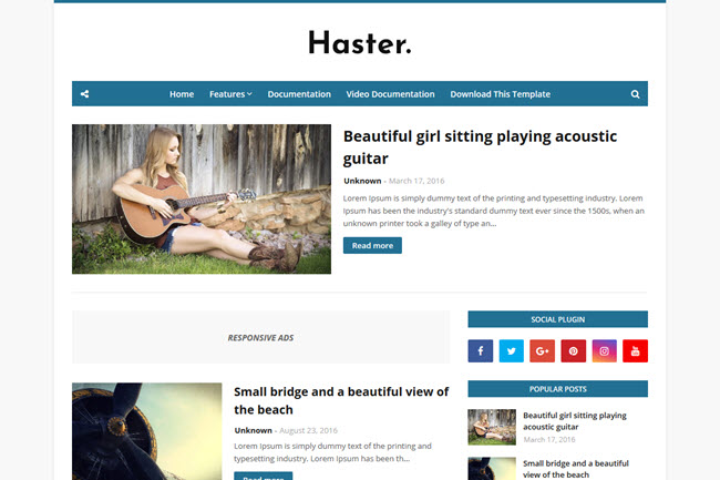 Haster – Responsive Blogger Template
